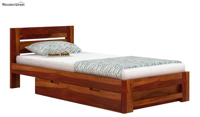 Denzel Single Bed With Storage (Honey Finish)-4