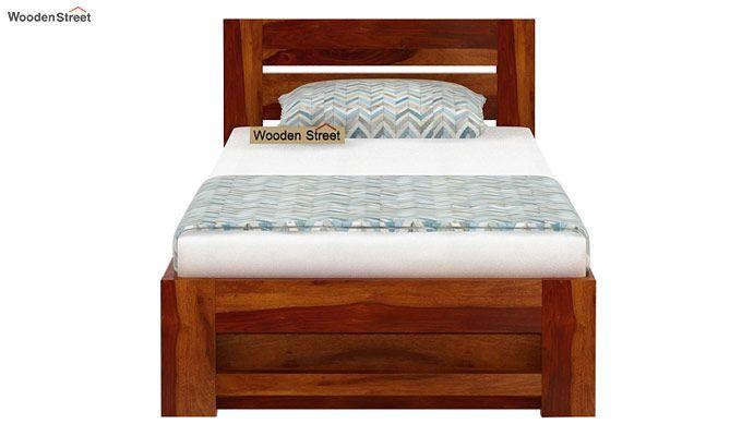 Denzel Single Bed With Storage (Honey Finish)-5