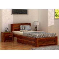 Denzel Single Bed With Storage (Honey Finish)