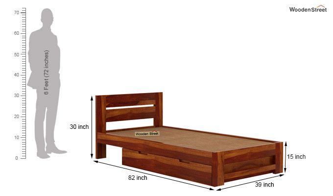 Denzel Single Bed With Storage (Honey Finish)-9