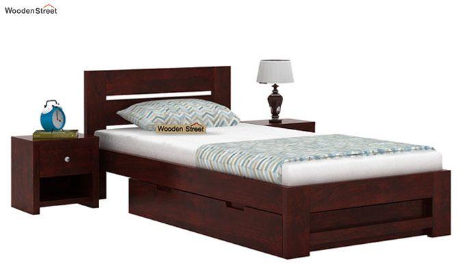Denzel Single Bed With Storage (Mahogany Finish)-1