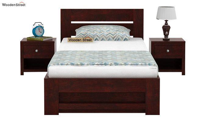Denzel Single Bed With Storage (Mahogany Finish)-2