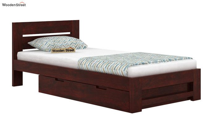 Denzel Single Bed With Storage (Mahogany Finish)-3