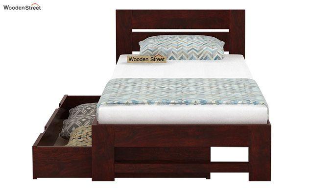 Denzel Single Bed With Storage (Mahogany Finish)-5