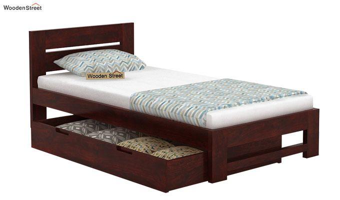 Denzel Single Bed With Storage (Mahogany Finish)-6
