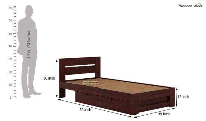 Denzel Single Bed With Storage (Mahogany Finish)-8