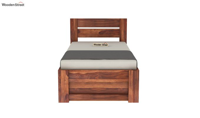 Denzel Single Bed With Storage (Honey Finish)-5