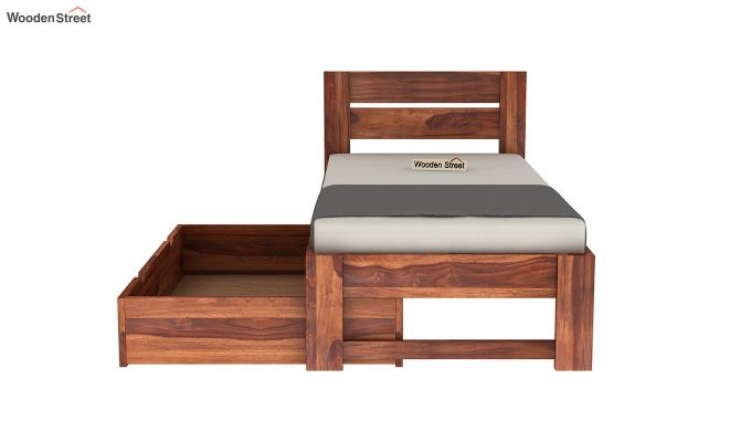 Denzel Single Bed With Storage (Honey Finish)-7