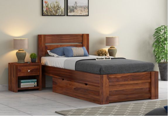 solid wood single beds with storage