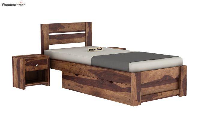 Denzel Single Bed With Storage (Teak Finish)-2