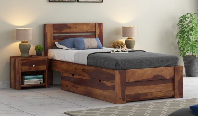 Denzel Single Bed With Storage (Teak Finish)-1