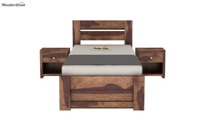 Denzel Single Bed With Storage (Teak Finish)-3