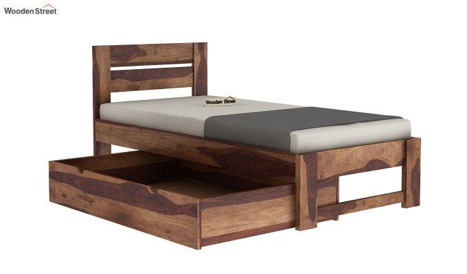 Denzel Single Bed With Storage (Teak Finish)-6