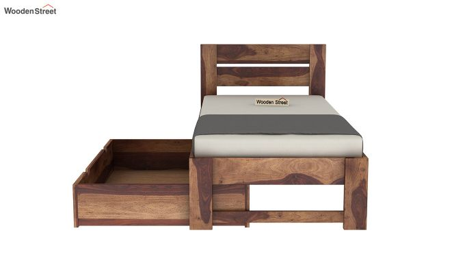 Denzel Single Bed With Storage (Teak Finish)-7