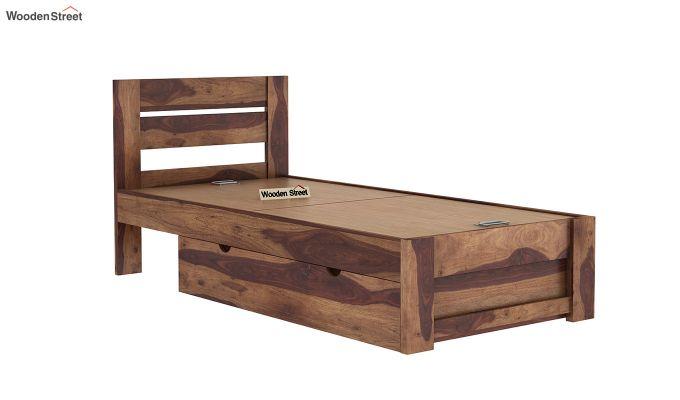 Denzel Single Bed With Storage (Teak Finish)-8