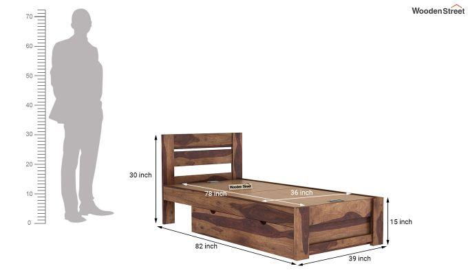 Denzel Single Bed With Storage (Teak Finish)-9