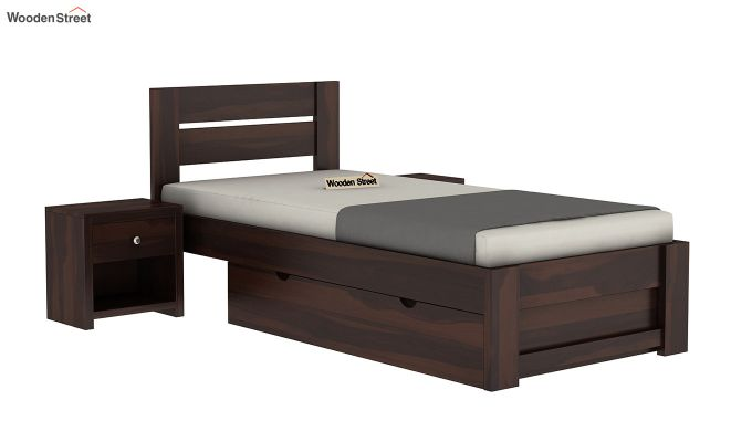 Denzel Single Bed With Storage (Walnut Finish)-2