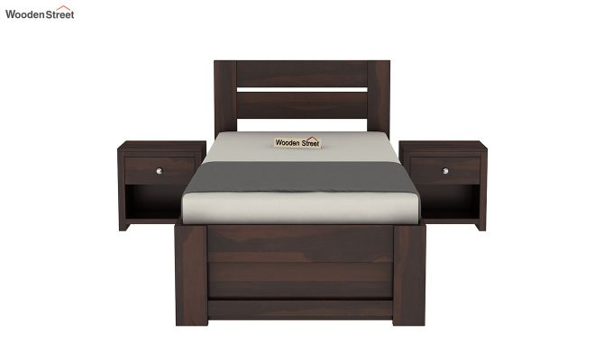 Denzel Single Bed With Storage (Walnut Finish)-3