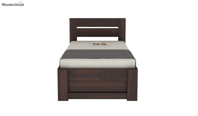 Denzel Single Bed With Storage (Walnut Finish)-5