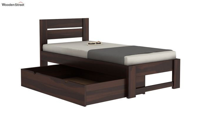 Denzel Single Bed With Storage (Walnut Finish)-6