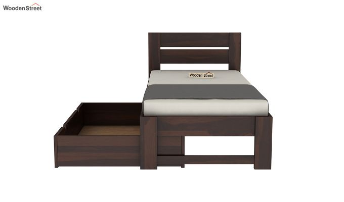 Denzel Single Bed With Storage (Walnut Finish)-7