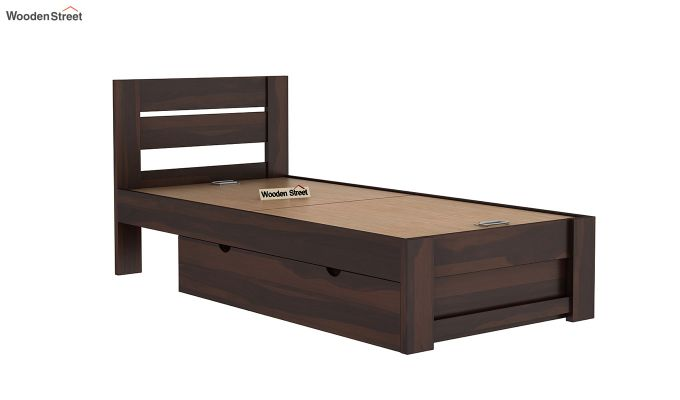 Denzel Single Bed With Storage (Walnut Finish)-8