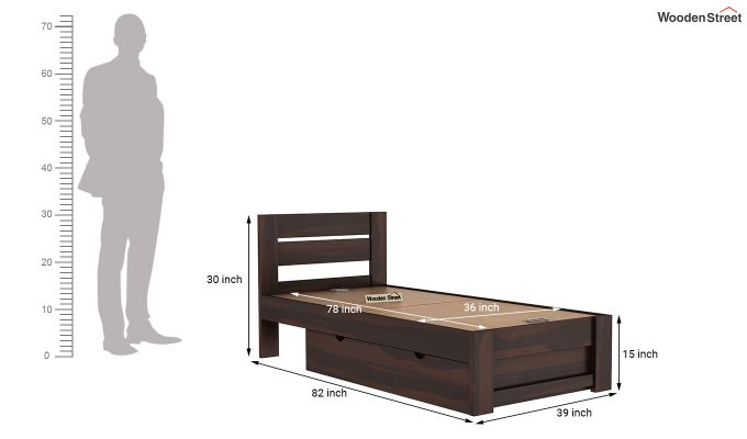 Denzel Single Bed With Storage (Walnut Finish)-9