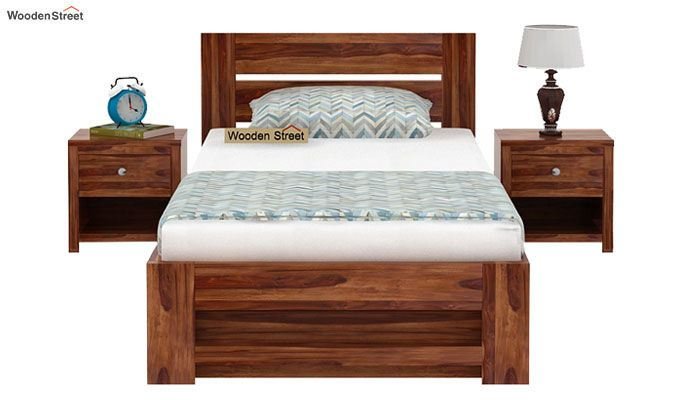 Denzel Single Bed With Storage (Teak Finish)-2