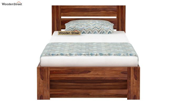 Denzel Single Bed With Storage (Teak Finish)-4