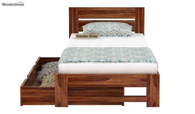 Denzel Single Bed With Storage (Teak Finish)-5