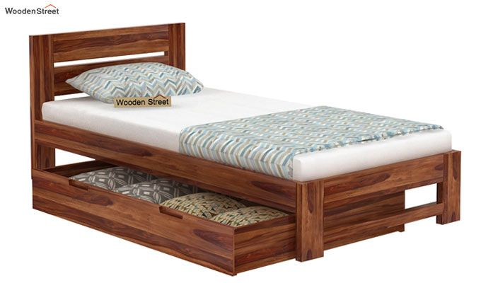 Denzel Single Bed With Storage (Teak Finish)-6