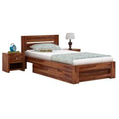 Denzel Single Bed With Storage (Teak Finish)
