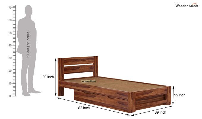 Denzel Single Bed With Storage (Teak Finish)-8