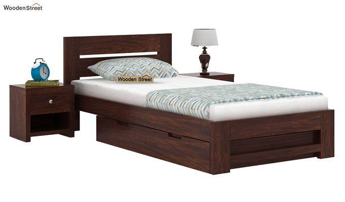 Denzel Single Bed With Storage (Walnut Finish)-1