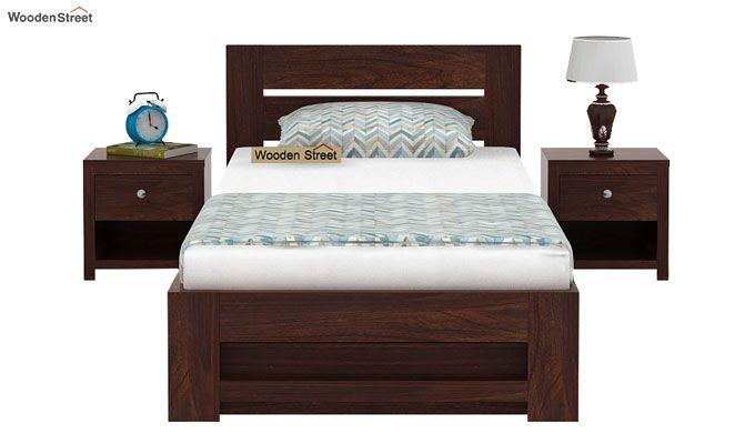 Denzel Single Bed With Storage (Walnut Finish)-2