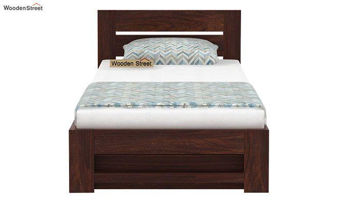 Denzel Single Bed With Storage (Walnut Finish)-4