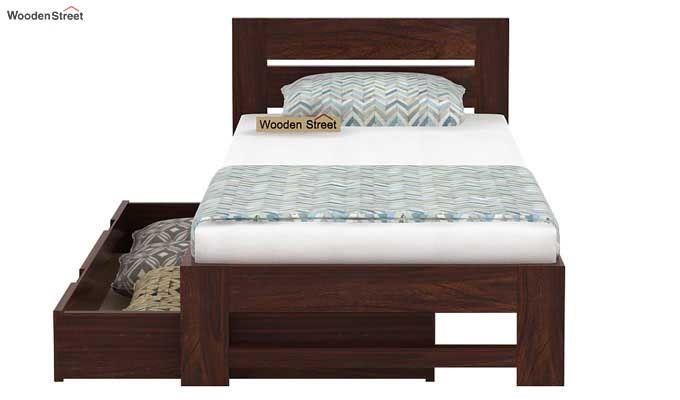 Denzel Single Bed With Storage (Walnut Finish)-5