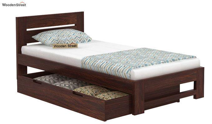 Denzel Single Bed With Storage (Walnut Finish)-6