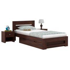 Denzel Single Bed With Storage (Walnut Finish)