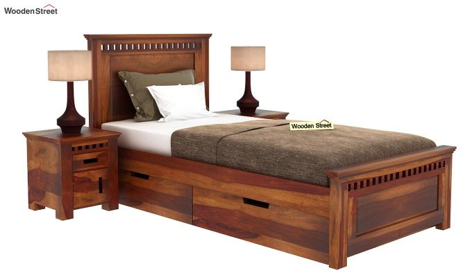 Adolph Single Bed With Storage (Honey Finish)-2