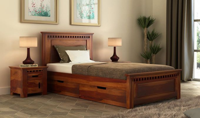 Adolph Single Bed With Storage (Honey Finish)-1