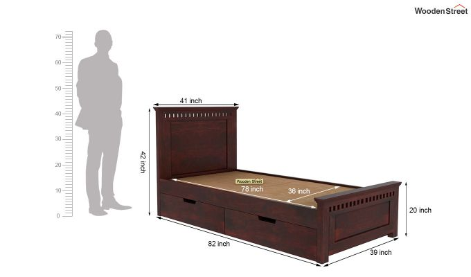 Adolph Single Bed With Storage (Mahogany Finish)-5