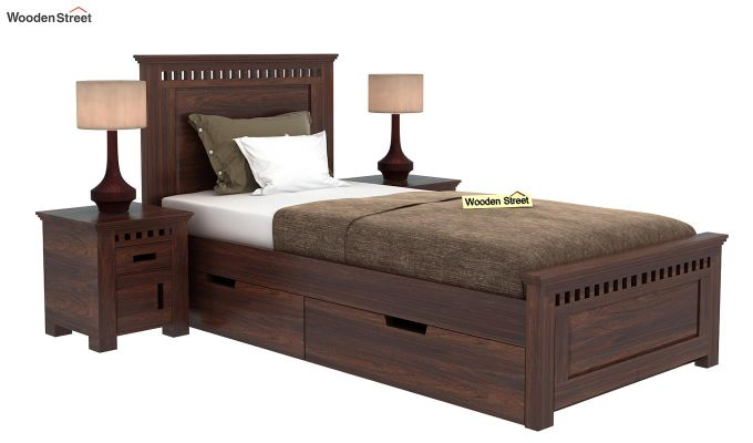 Adolph Single Bed With Storage (Walnut Finish)-1