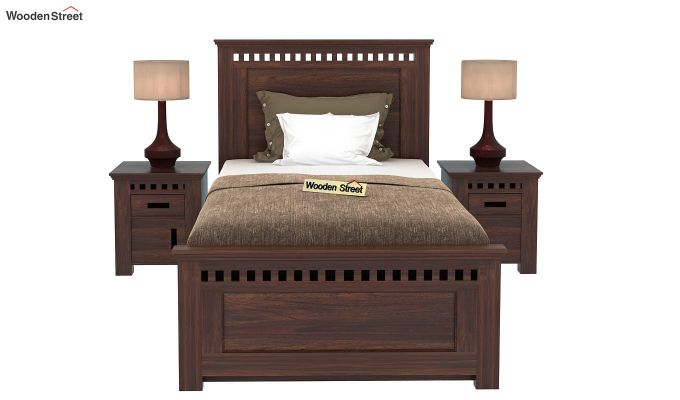 Adolph Single Bed With Storage (Walnut Finish)-2