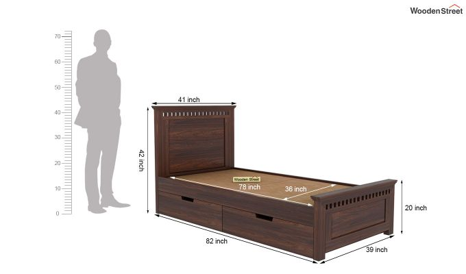 Adolph Single Bed With Storage (Walnut Finish)-5