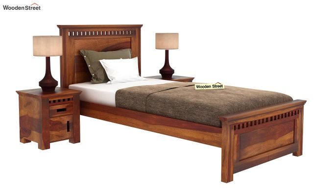 Adolph Single Bed Without Storage (Honey Finish)-2