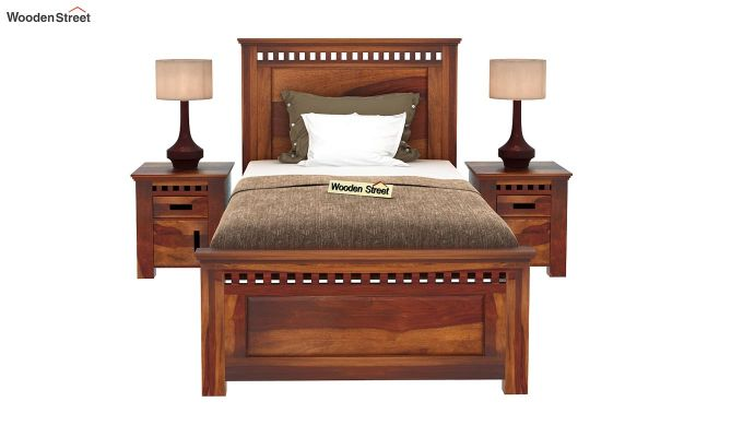 Adolph Single Bed Without Storage (Honey Finish)-3