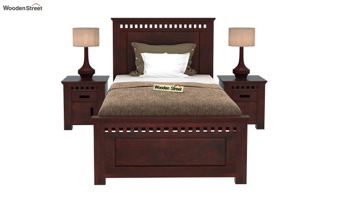 Adolph Single Bed Without Storage (Mahogany Finish)-2