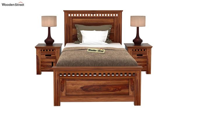 Adolph Single Bed Without Storage (Teak Finish)-2