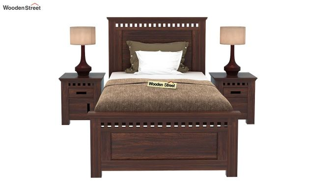 Adolph Single Bed Without Storage (Walnut Finish)-2
